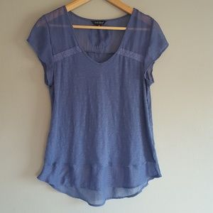 Lucky Brand Embroidered Blue Gauze Top